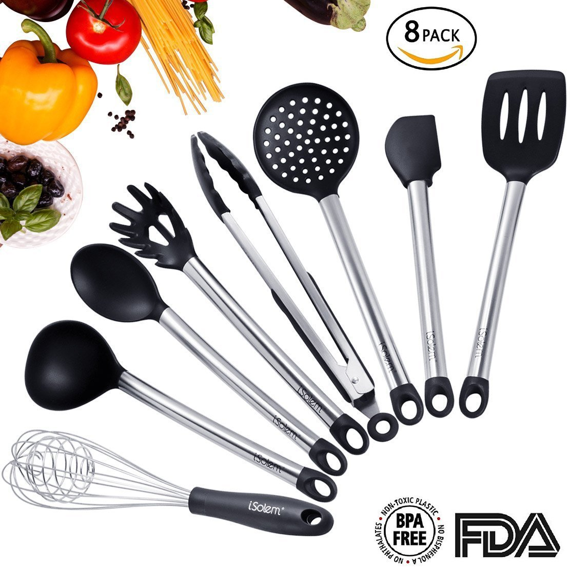 Silicone Kitchen Utensils, ISolem 8 Pieces Cooking Utensils Set